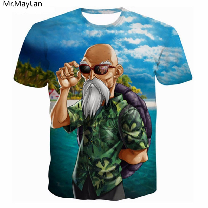 Funny Anime <font><b>Dragon</b></font> <font><b>Ball</b></font> Master Roshi 3D Print <font><b>T</b></font> <font><b>shirt</b></font> Men/Women Summer Hipster Short Sleeve Hiphop Tee Boys <font><b>T</b></font>-<font><b>shirts</b></font> Homme <font><b>5XL</b></font> image