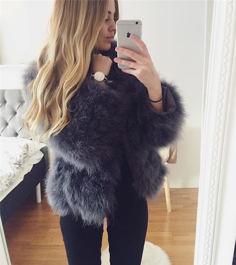 d7f6248c0f3e 100% Fluffy Feather Fever Fur Jackets Handmade Knitted Genuine Ostrich Fur  Coat Women Retail /
