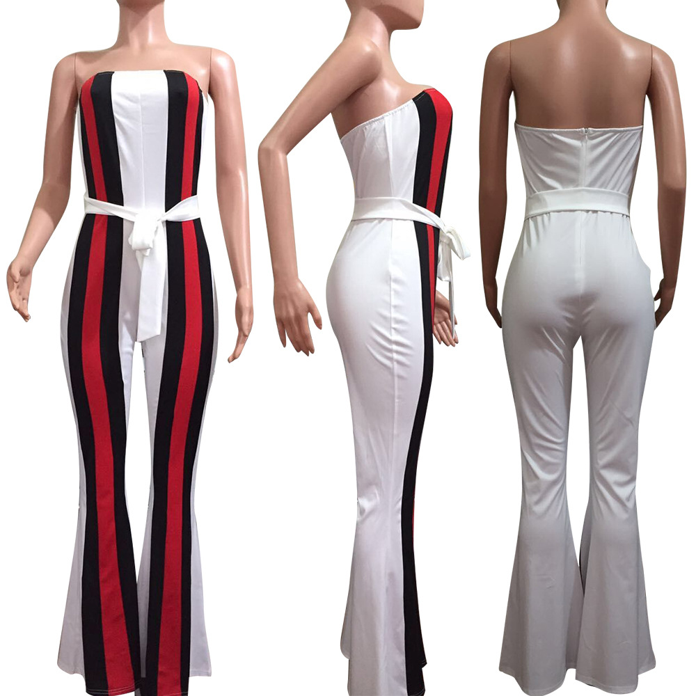 2bdd61e4266 Ruby s Closet Sexy strapless Women Autumn Jumpsuits black red green striped  boot cut jumpsuit women with belt off shoulder L5137-in Jumpsuits from  Women s ...