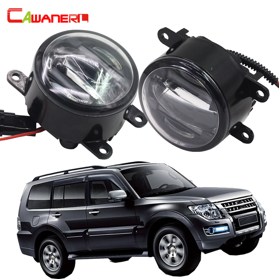 цена на Cawanerl 2 Pieces Car Front Fog Light LED DRL Daytime Running Lamp Styling For Mitsubishi Pajero 4/IV Van V80 V90 Box 2007-2015