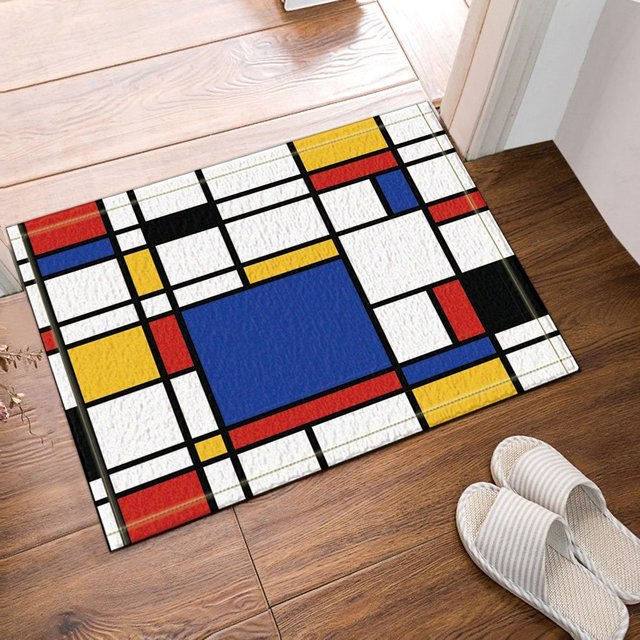 Abstract Geometric Decor, Continuous Replicate Mondrian Bath Rug, Non Slip  Floor Entryways Outdoor