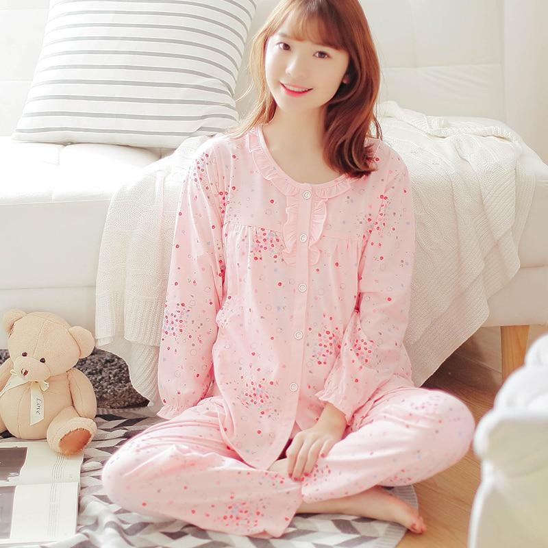 Full Sleeve MaternitySets Sleep&Lounge Mummy Lounge Breastfeeding Cotton pregnant women Nursing Long Sleeve Tops+pants Clothes