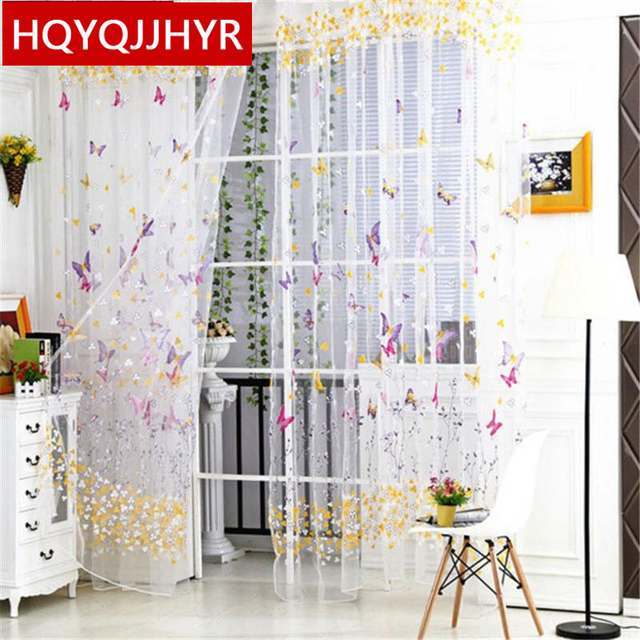 US $11.0 |White rustic butterfly pattern tulle curtains for Living Room  window curtain Bedroom kitchen curtains Can be used-in Curtains from Home &  ...