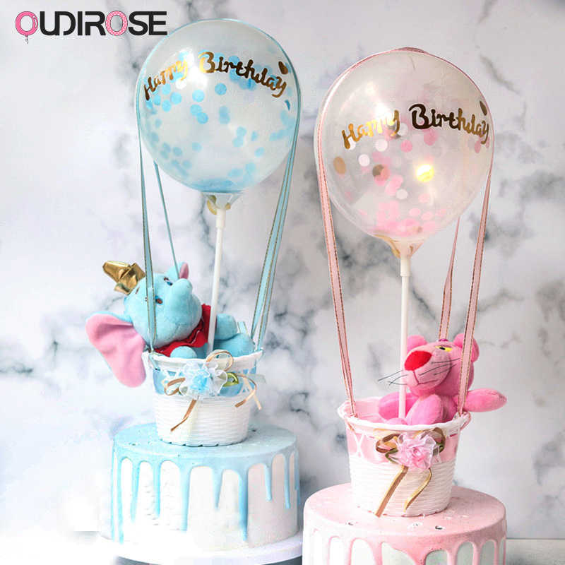 Sequin Hot Balloon Cradle Happy Birthday Cake Topper Boy/Girl Gift Cake Top Flags Shower Decoration Cake Topper Wedding Supplies