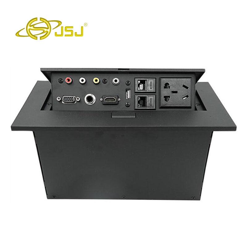 цена на JSJ Pop-up multimedia desktop socket multi-function conference panel HDMI + VGA + USB + AV audio and video information
