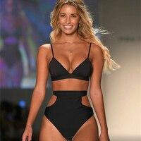 New Women S High Waist Swimsuit Brazilian Hollow Out Bikinis Set Sex Solid Retro Swimwear Female