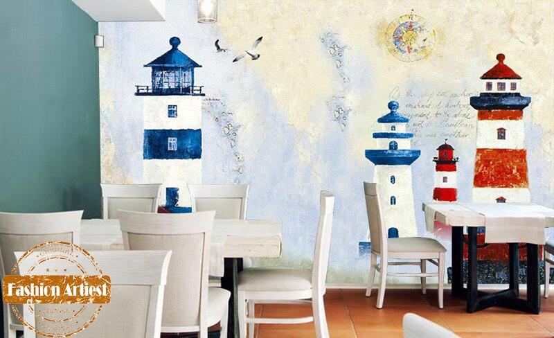 Custom sea gull peace wallpaper mural blue & red light house beacon impressionism sofa bedroom living room cafe restaurant