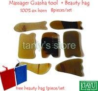 Good Quality Massage Guasha Tool Woman Beauty Scraping Plate 100 Ox Horn 2 Fish 1 Comb