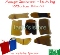 Good quality! Massage Guasha tool woman beauty scraping plate 100% ox horn (2 fish+1 comb +2 square+1s+1 triangle) 7pcs/set