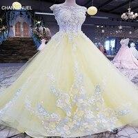 LS00188vestidos De Fiesta Largos Elegantes De Gala Yellow Backless Lace And 3D Flowers Organza Appliques Evening