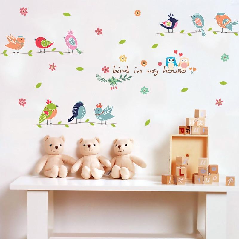 Cartoon Colorful Room: Cartoon Kids Room Cute Colorful Bird Wall Stickers Birds