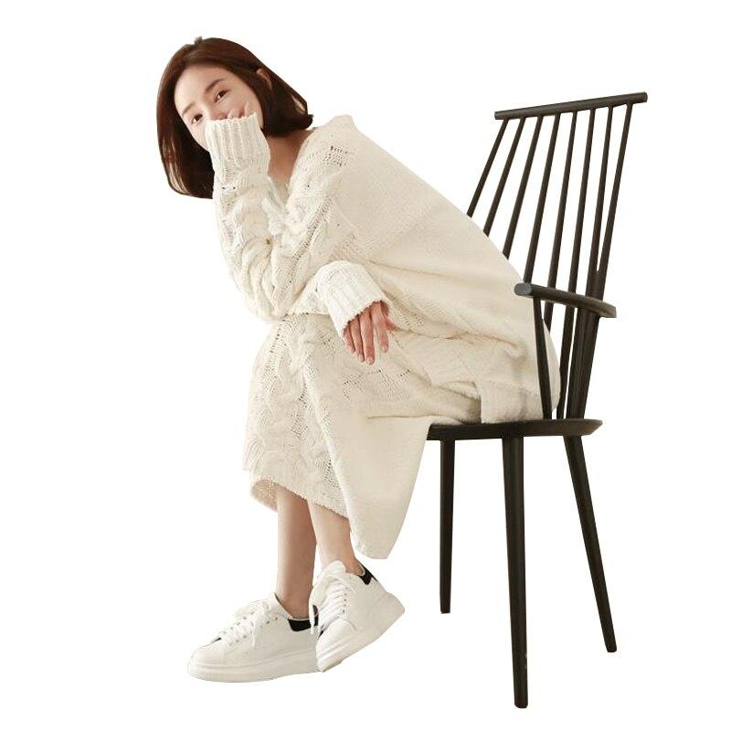 Moyen Femmes Costume see See Chart Chandail V Coréenne En enveloppé sur col Lâche Automne Mode Version Jupe Chart pièce Pull Deux De long Bouton wqSOw7
