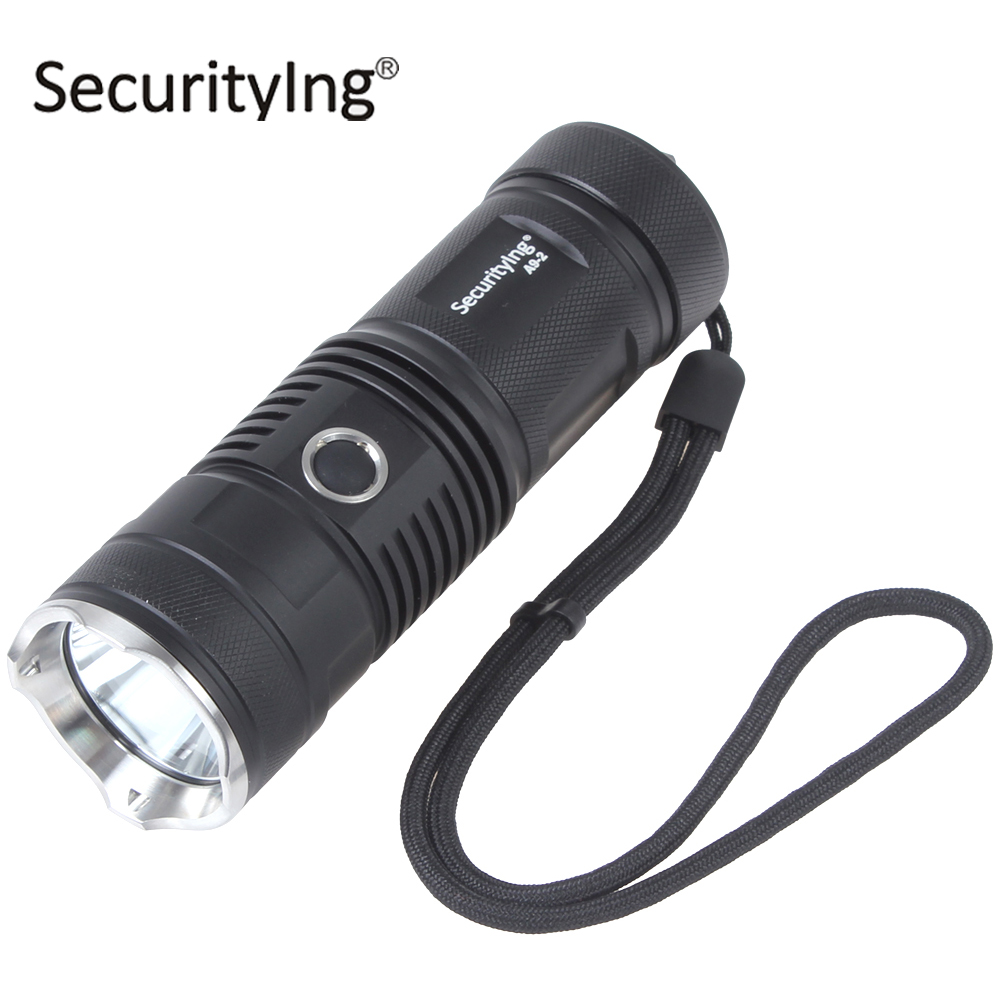 SecurityIng XM-L2 U2-1A LED Flashlight Torch Waterproof 5 Mode Stainless Steel LED Flash Light Torch with 500m Lighting Distance securitying red green white hunting led flashlight torch xm l2 u4 led 5 mode zoomable waterproof flash light remote switch