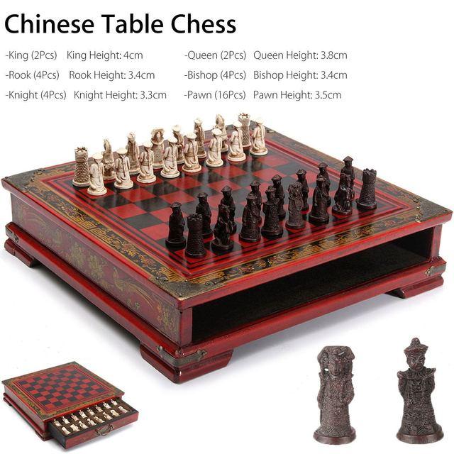 32 pièces/ensemble bois échecs chinois rétro terre cuite Chessman échecs bois faire vieux sculpture résine Chessman anniversaire cadeau de noël 3