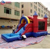 Guangdong 6 mL yüzen çocuklar için slayt ile şişme bouncy castle house ucuz küçük kabin satılık şişme hava kale