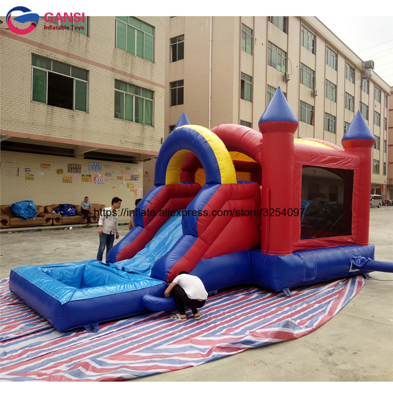 Guangdong 6mL floating inflatable bouncy castle house with slide for kids cheap small cabin inflatable air castle for sale outdoor inflatable bounce house slide combo balloon bouncy castle bouncing house with air blowers and repair kit