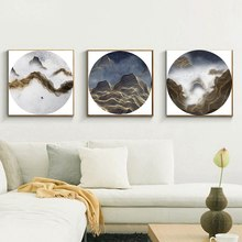 3 Panels Circular Canvas Print Golden Line Mountain Landscape Abstract Picture Chinese Painting for Office Home Decor Wholesale 3 panels circular canvas print golden line mountain landscape abstract picture chinese painting for office home decor wholesale