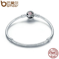 BAMOER Authentic 925 Sterling Silver Poetic Blooms Mixed Enamels Clear CZ Snake Chain Bangle Bracelet Luxury