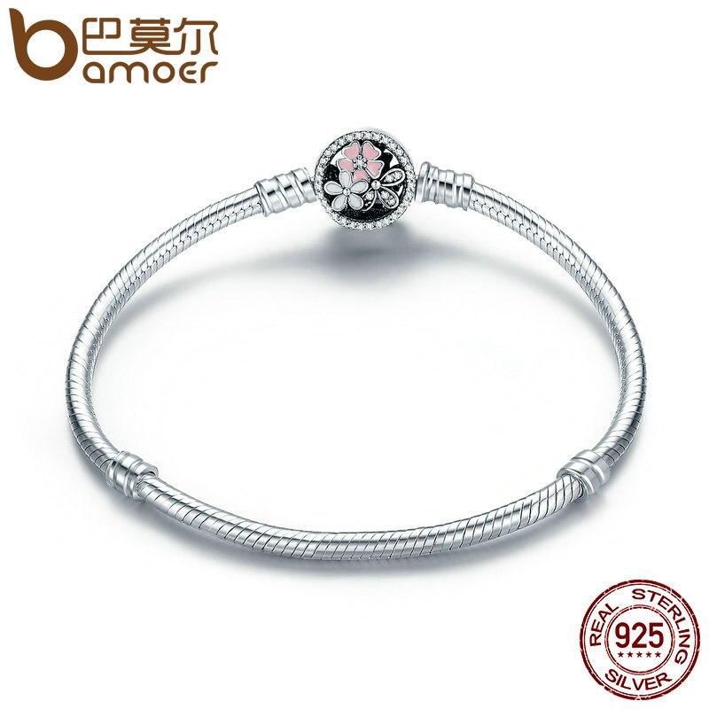 BAMOER Authentische 925 Sterling Silber Poetische Daisy Kirschblüte Gemischt Emails & Clear CZ Schlange Kette Armband Schmuck PAS919