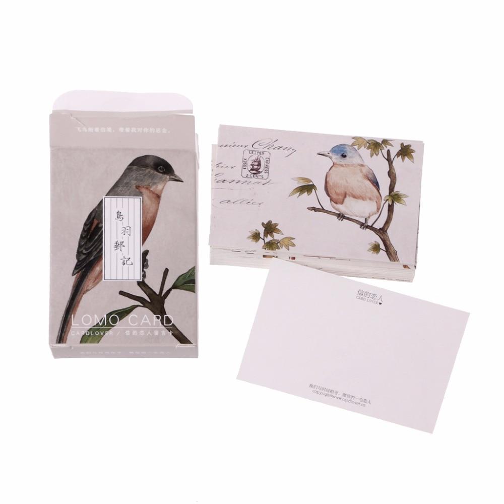 28Pc Vintage Stamp Beautiful Bird Mini Card Greeting Memo Card Kid Gift Postcard