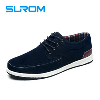 SUROM Men S Leather Casual Shoes Spring Autumn New Fashion Men Breathable Waterproof Lace Up Loafers