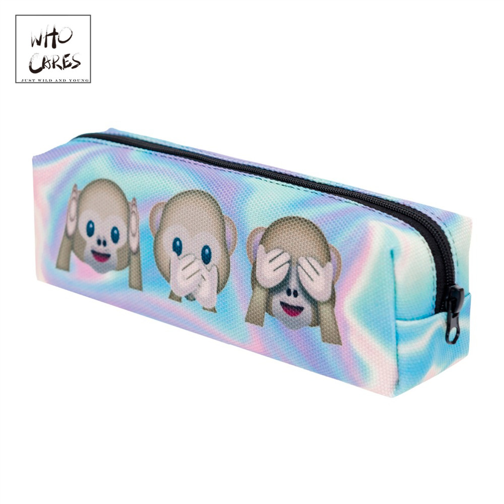 Cosmetic-Bag Pencil Monkeys Holo School-Necessaire Women New-Fashion Makyaj Trousse-De-Maquillage