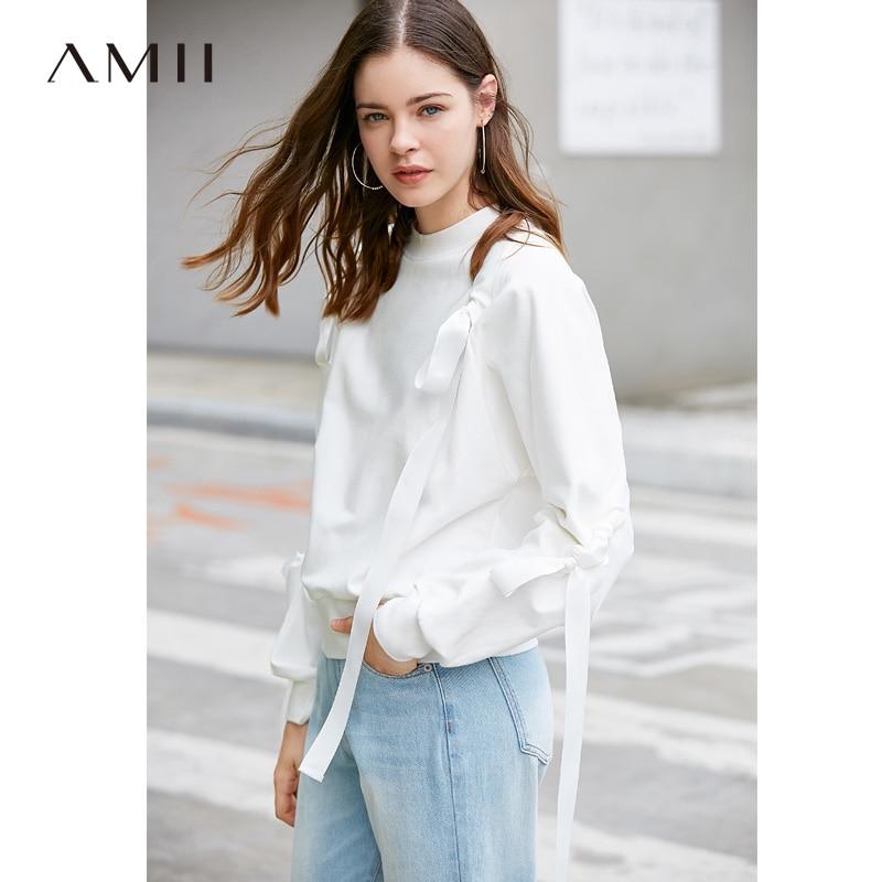 Amii Minimalist O Neck Solid Lace Up Women Sweatshirts 2019 Spring Long Sleeve Fake Two Pieces