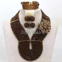 Fashion African Chocolate Brown Beads Jewelry Set Nigerian Wedding Bridal Party Jewelry Set 2016 New Free Shipping ALJ303