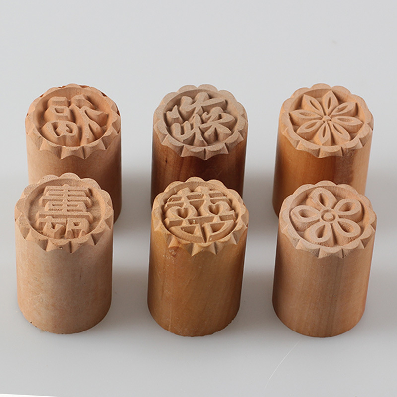 2pc wood Moon Cake Mold Seal Stamp Mid Autumn Festival ...