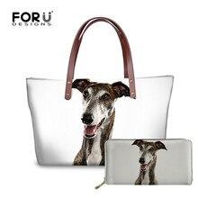 FORUDESIGNS Shoulder Bag Greyhound Pet Dog 3D Printing Women Handbags 2pcs/set L