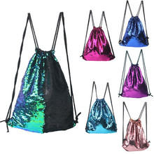 Women Cosmetic Bags Glittering Dance Bag Reversible Sequins Daypack Drawstring Backpack Magic Paillette Sackpack for Girls(China)
