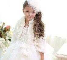 Новая мода Обувь для девочек белый мех шаль девушки цветка мыс верхняя одежда Детские Свадебные меха От 2 до 10 лет jacketl с длинными рукавами