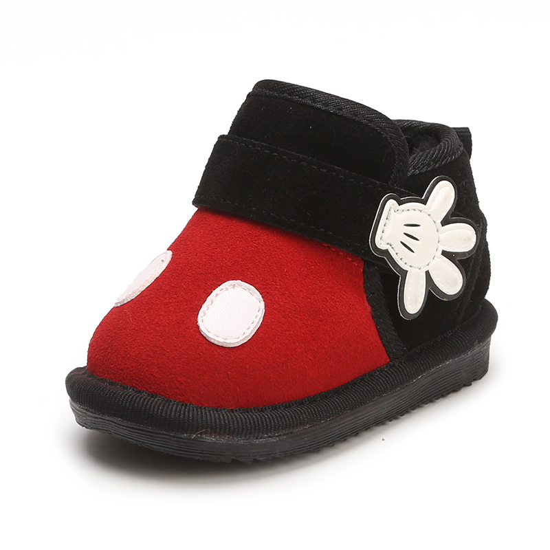 Cute Cartoon Mickey Baby Boy Snow Boots Genuine Leather ...