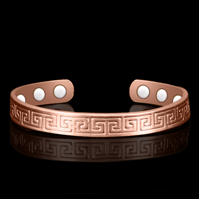 Ethnic Pure Copper 6 Magnetic Wrist Bangle Bracelet For Pain Relief Rheumatic Arthritis Baided Rose Gold Color Men Women CUFF simple geometric ripple hollow out pure color cuff bracelet for women