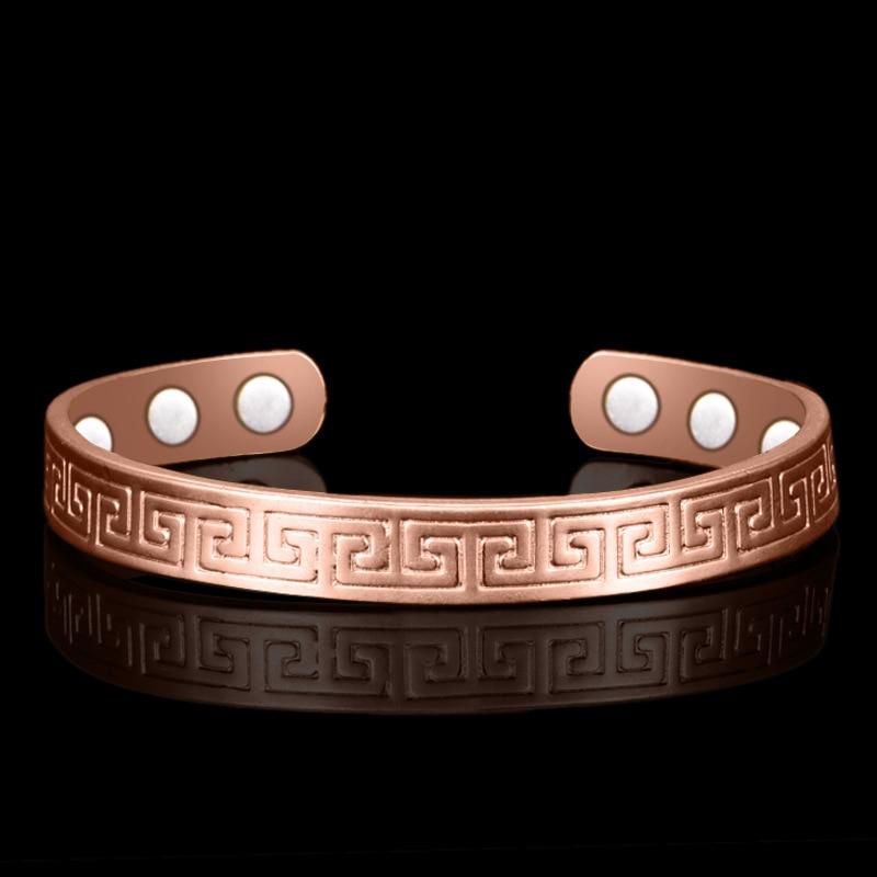 Ethnic Pure Copper 6 Magnetic Wrist Bangle Bracelet For Pain Relief Rheumatic Arthritis Baided Rose Gold Color Men Women CUFF недорго, оригинальная цена