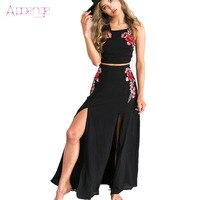 APOENGE Balck 2 Piece Women Dress Embroidery Flower Sumer Long Maxi Dresses Cross Body Slipt Backless