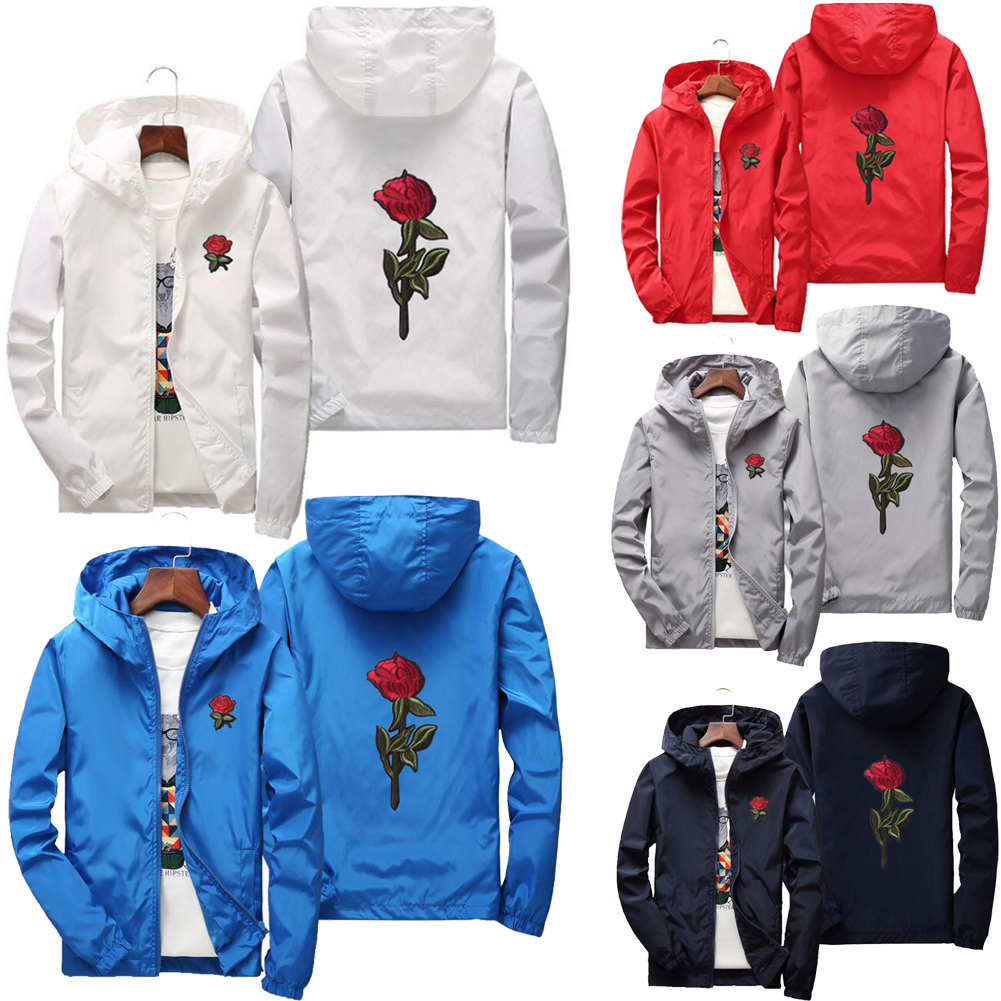 contentment Women Hooded Jacket Coats Embroidery Rose Casual,Gray,L