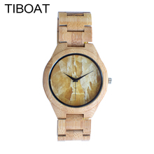 TIBOAT Men Watches 2017 Luxury Brand Marble Turtle Stone Lines Face Nature Wood Bamboo Bracelet Bangle Quartz Wristwatch Gift