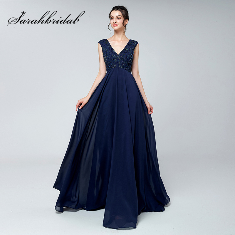 2019 Vintage Navy Blue Beading   Evening     Dresses   Chiffon V-Neck Empire Long Prom Cheap   Dress   Zipper Back Bridal Party Gowns L3121