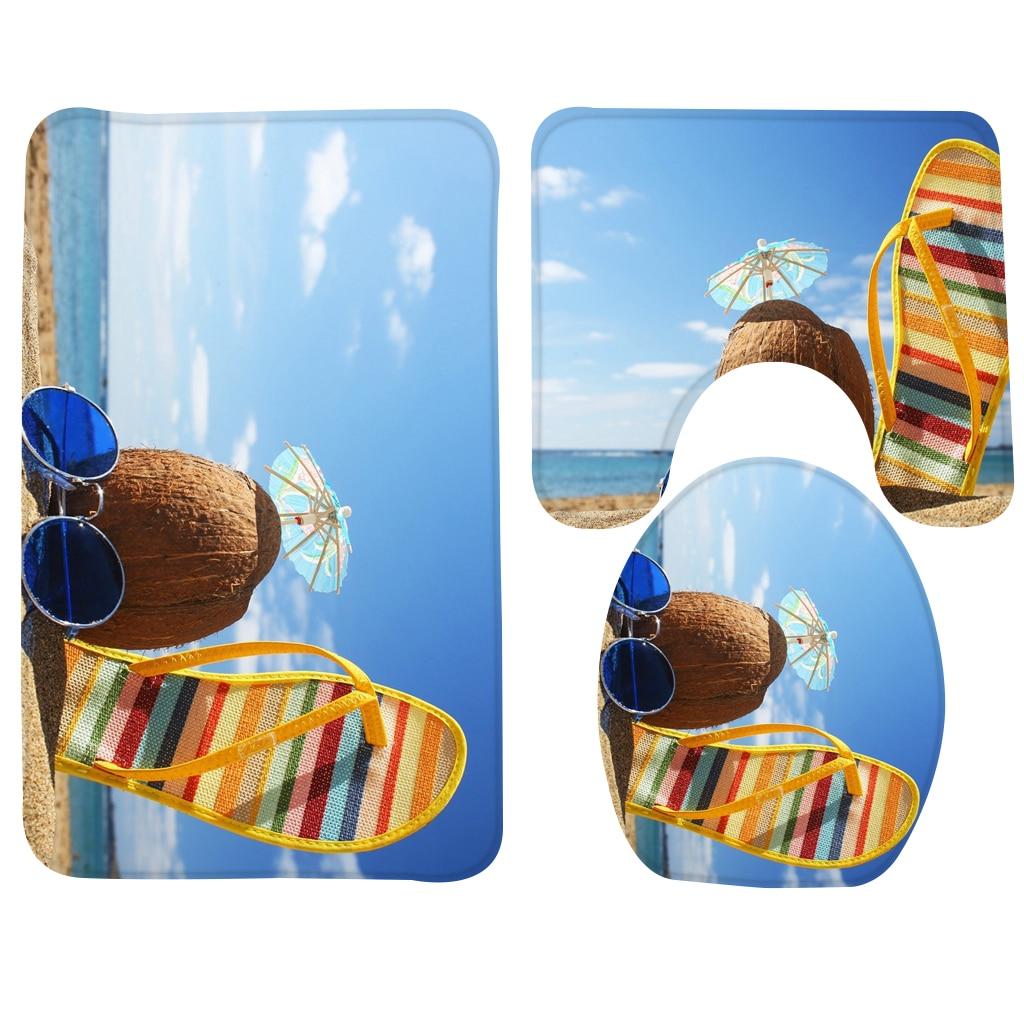 3pcs Bath Rug Set Beach Holiday Memory Pattern Bathroom Mat Anti Slip Bathroom Carpet Set Soft Toiled Mat