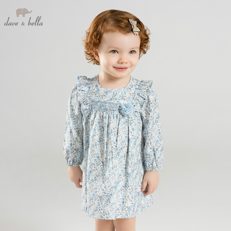 DBM9889-2 dave bella spring  infant baby girls fashion dress kids birthday party dress toddler children floral bow  dress DBM9889-2 dave bella spring  infant baby girls fashion dress kids birthday party dress toddler children floral bow  dress