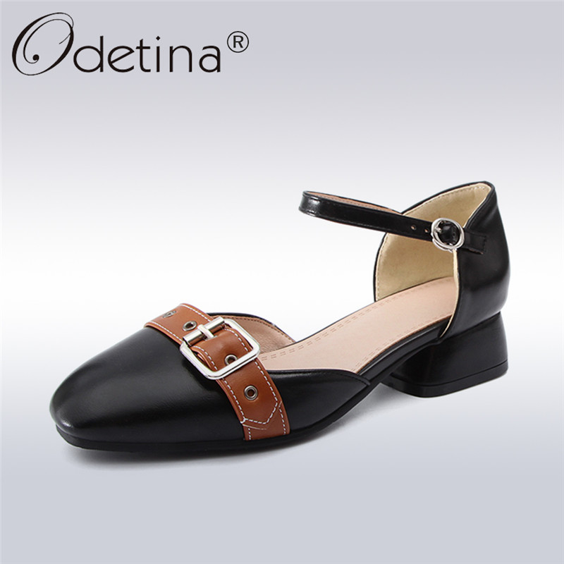 Odetina 2018 New Fashion Women Ankle Strap Shoes Square Toe Buckle Elegant Shoes Ladies Chunky Heels Pump Shoes Big Size 32-43 vektor a 103