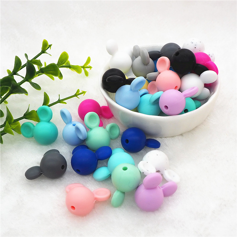Chenkai 20pcs Silicone Mickey Teether Beads DIY Baby Animal Mouse Pacifier Dummy Teething Montessori Jewelry Making Toy Beads