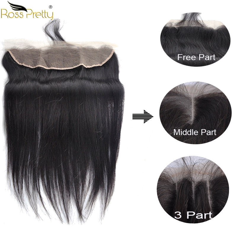 Ross Pretty Brazilian Remy Hair Straight Lace Frontal Ear To Ear Natural Human Hair Lace Front 13x4 Baby Hair And Pre Plucked