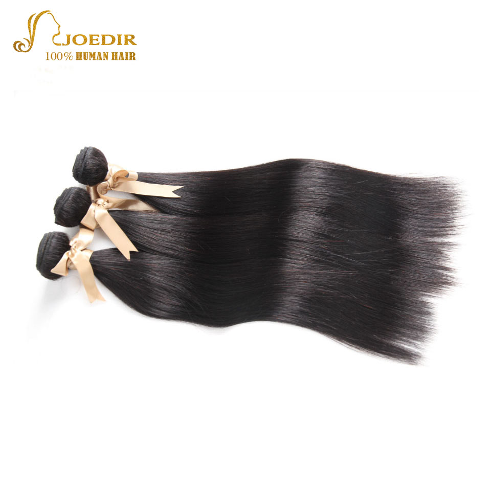 Natural Color Brazilian Virgin Hair Yaki Human Hair Weave Bundles Wet Straight Hair Extensions 3 Pieces Joedir Hair Products