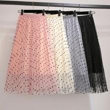 YICIYA black pink Plus size mesh polka Dot skirts midi for women tutu skirt 2019 summer elegant female vintage loose clothing