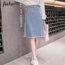 Jielur Harajuku Fashion Plus Size Skirt Summer Tassel Split High Waist Skirt Women Korean Chic Striped Skirts Denim Dropshipping