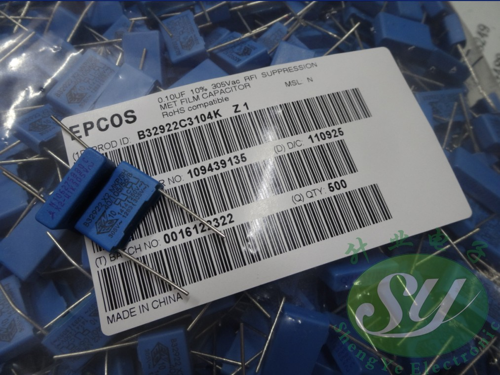 2019 Hot Sale 10pcs/30pcs Epcos EPCOS 0.1uf/305vAC 100nf U1 104 New Long Foot Film Capacitor 15MM Free Shipping