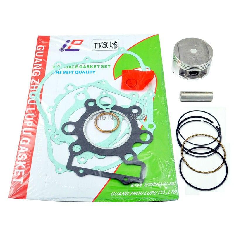 LOPOR Pour Yamaha TTR250 73mm Alésage Standard Taille de Piston Pin Clips Kit & Moteur Cylindre Couvercle De Carter Joint ensemble