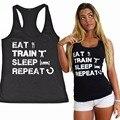 ЕСТЬ ПОЕЗД СНА ПОВТОРИТЬ женские Тренировки Бак Тренажерный Зал Рубашка Фитнес Appare Приземистый Топ Tee Shirt Черный S-2XL